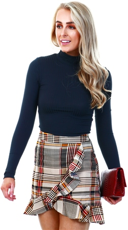 Missi Lond Brown Check Frill Mini Skirt  - Click to view a larger image