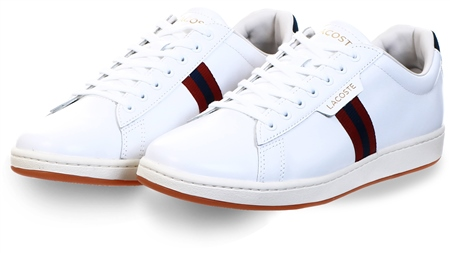 Lacoste White Carnaby Evo Tricolour Leather Trainers  - Click to view a larger image