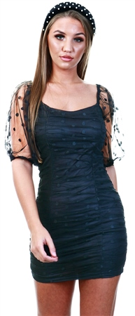 Influence Black Spot Mesh Bodycon Dress  - Click to view a larger image