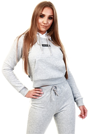 Gym King Grey Marl Panel Crop Hoodie  - Click to view a larger image