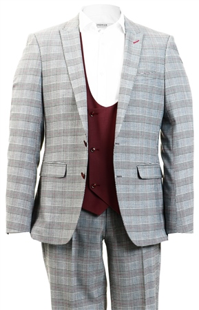 Alex & Turner Grey Zane Checked 3 Piece Suit  - Click to view a larger image