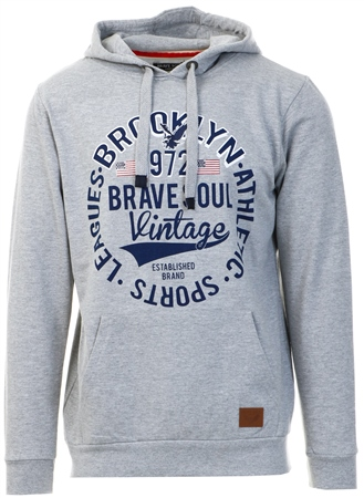 Brave Soul Grey Printed Pull Over Hoodie  - Click to view a larger image