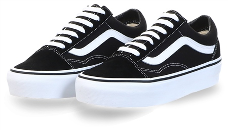 Vans Black/White Platform Old Skool Shoes  - Click to view a larger image