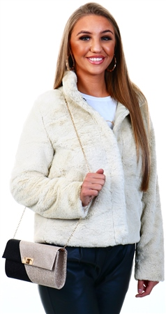 Only Grey / Pumice Stone Faux Fur Jacket  - Click to view a larger image