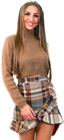 Glamorous Camel High Neck Crop Knit Jumper  - Click to view a larger image