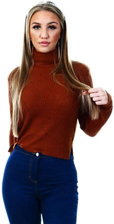 Qed Brown Chunky Knit Crop Jumper  - Click to view a larger image