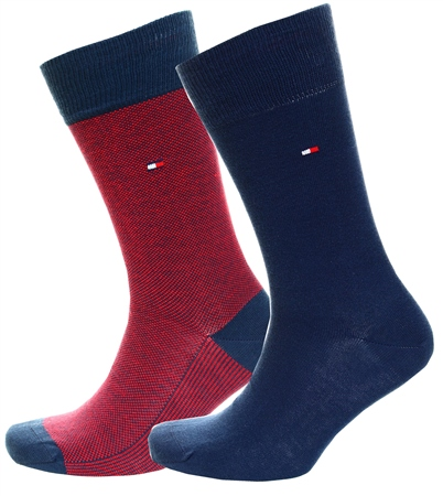 Tommy Jeans Navy / Red 2-Pack Men's Cotton Rich Socks  - Click to view a larger image