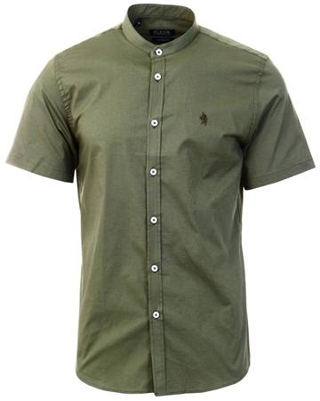 Alex & Turner Khaki Granda Collar Short Sleeve Shirt  - Click to view a larger image
