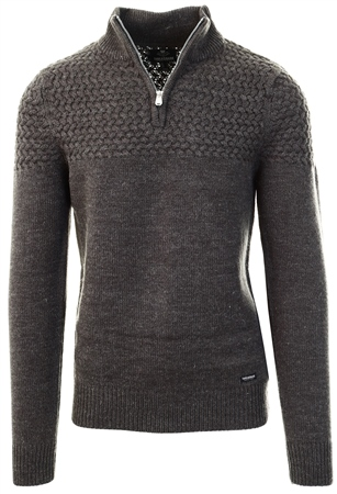 Threadbare Charcoal Half Zip Knitted Sweater  - Click to view a larger image