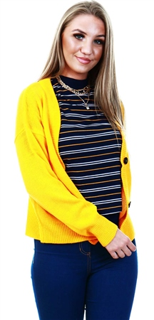Brave Soul Yellow Kikia Button Knitted Cardigan  - Click to view a larger image