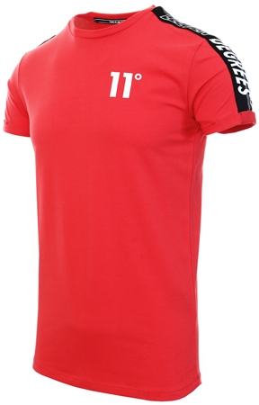 11degrees Hot Red Taped Muscle Fit T-Shirt  - Click to view a larger image