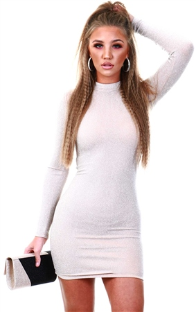 Ax Paris Nude Sparkle Bodycon Dress  - Click to view a larger image