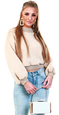 Qed Stone Cropped Knitted Teddy Jumper  - Click to view a larger image
