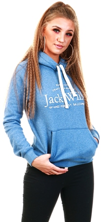 Jack Wills Blue Hunston Embroidered Graphic Hoodie  - Click to view a larger image
