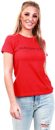 Calvin Klein Racing Red Slim Logo Short Sleeve T-Shirt  - Click to view a larger image