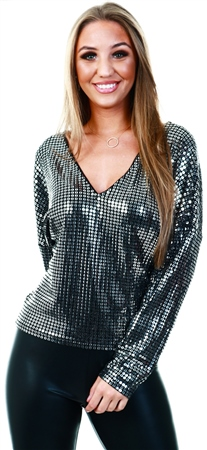 Vila Black/Silver Sequin Long Sleeve Top  - Click to view a larger image