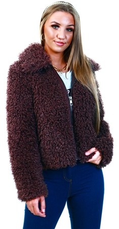 Only Brown / Bitter Chocolate Faux Fur Jacket  - Click to view a larger image