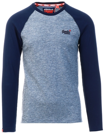 Superdry Creek Blue Texture Orange Label Texture Baseball Long Sleeve Top  - Click to view a larger image