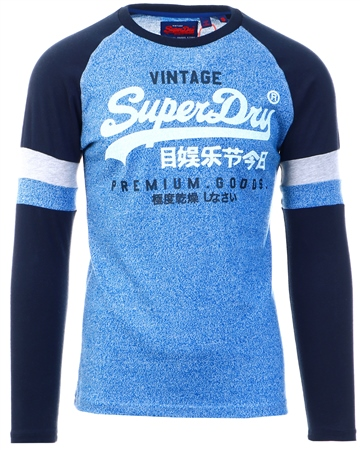 Superdry Blue Grit Texture Long Sleeve Top  - Click to view a larger image