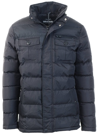 Threadbare Black Padded Coat  - Click to view a larger image