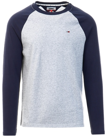 Tommy Jeans Black Contrast Raglan Long Sleeve T-Shirt  - Click to view a larger image