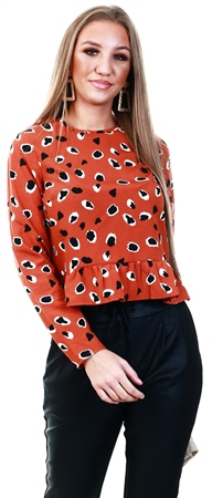 Influence Rust Leopard Frill Long Sleeve Top  - Click to view a larger image