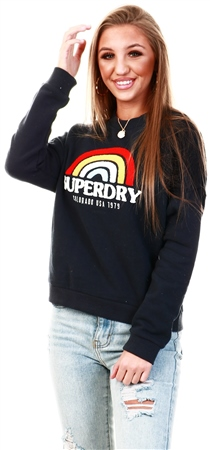 Superdry Eclipse Navy Raven Panelled Crew Sweatshirt  - Click to view a larger image