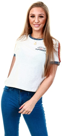 Superdry Oatmeal Marl Premium Quality Ringer Boxy T-Shirt  - Click to view a larger image