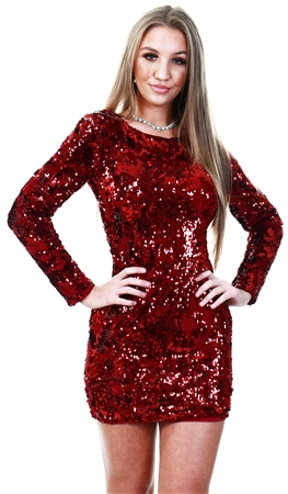 Missi Lond Burgundy Velvet Sequin Bodycon Dress  - Click to view a larger image