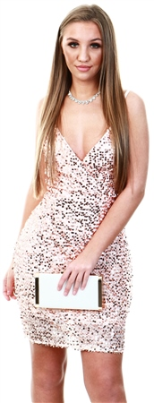 Missi Lond Rose Gold Sequin Midi Dress  - Click to view a larger image