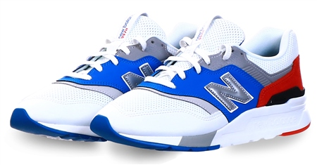 New Balance White / Royal Blue / Velocity Red 997h Suede Trainer  - Click to view a larger image