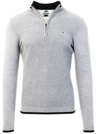 Le Shark Mid Grey Marl Half Zip Knit Jumper  - Click to view a larger image