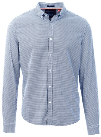 Superdry Navy Basket Hounsdtooth Premium Button Down Long Sleeve Shirt  - Click to view a larger image