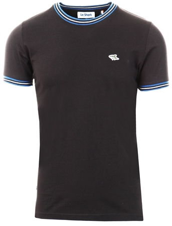 Le Shark Black Oldershaw Cotton Jersey T-Shirt With Racer Stripe  - Click to view a larger image
