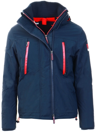 Superdry Navy/Red Hooded Polar Windattacker Jacket  - Click to view a larger image
