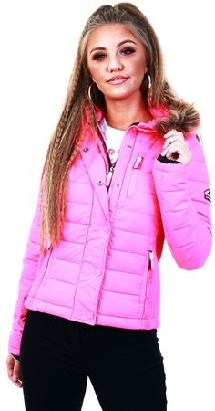 Superdry Vibe Pink Fuji Slim Double Zip Hoodie  - Click to view a larger image