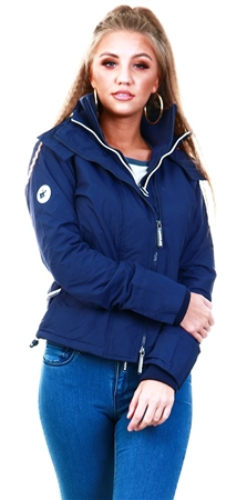 Superdry Navy / Ecru Arctic Hooded Pop Zip Sd-Windcheater Jacket  - Click to view a larger image