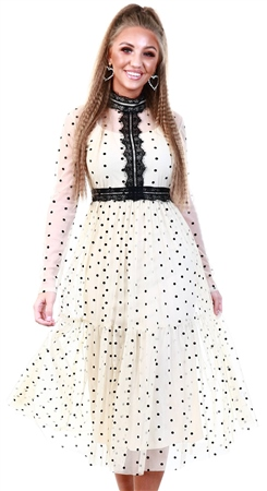 Tfnc Cream Polka Dot Mesh Pleat Dress  - Click to view a larger image