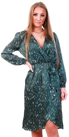Ax Paris Green Printed V-Neck Wrap Dress  - Click to view a larger image
