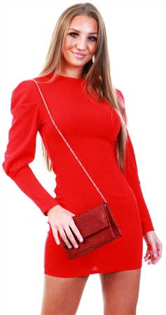 Ax Paris Red Long Sleeve Bodycon Dress  - Click to view a larger image