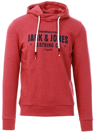 Jack & Jones Red Logo Print Hoodie  - Click to view a larger image