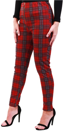 Missi Lond Red Tartan Check Trouser  - Click to view a larger image