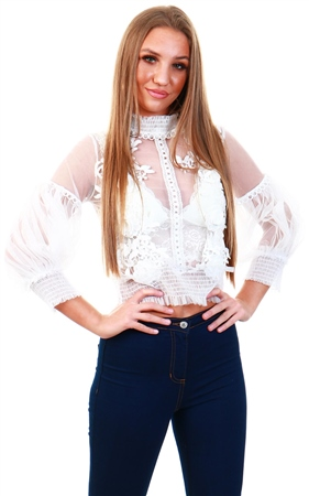 Cutie London White Mesh Frill Top  - Click to view a larger image