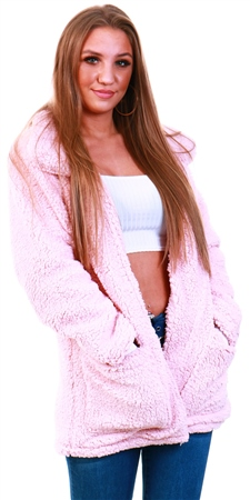 Brave Soul Pale Pink Teddy Fleece Jacket  - Click to view a larger image
