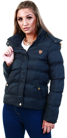 Brave Soul Black Short Padded Jacket  - Click to view a larger image