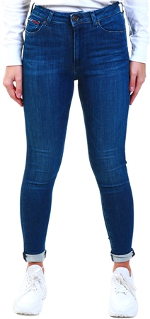 Tommy Jeans Dark Blue Denim Wash High Rise Super Skinny Jeans  - Click to view a larger image