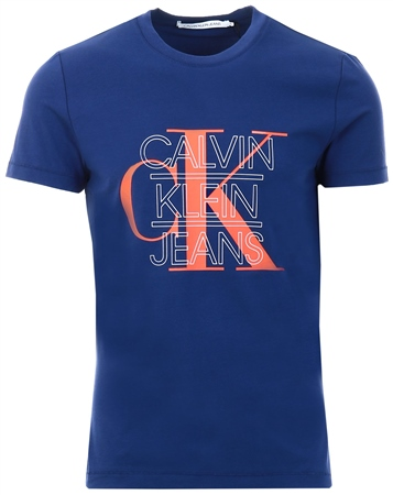 Calvin Klein Blue Slim Graphic Logo T-Shirt  - Click to view a larger image