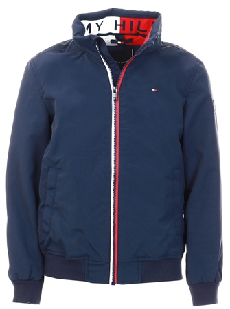 Tommy Jeans Black Iris Navy Essential Concealed Hood Jacket  - Click to view a larger image