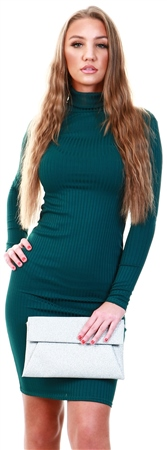 Parisian Teal Rib Knit Turtle Neck Long Sleeve Bodycon Midi Dres  - Click to view a larger image