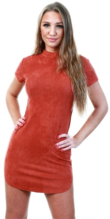 Ax Paris Rust Faux Suede Mini Dress With High Neck  - Click to view a larger image